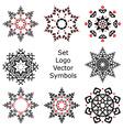 Set Hand drawing zentangle mandala logo symbols vector image