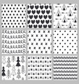 set of seamless pattern black and white vector image
