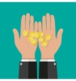 Hands with golden coins savings donation paying vector image vector image