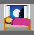 girl on beds vector image