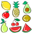 collection stock of fruits various doodles vector image