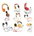 headphones and earphones set music technology vector image