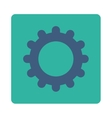 Gear flat cobalt and cyan colors rounded button vector image