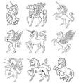 heraldic unicorns vector image