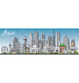 Asia skyline silhouette with different landmarks vector image vector image