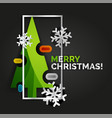 christmas tree greeting banner black background vector image