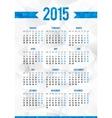 Simple 2015 year European calendar grid vector image