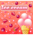 Sweet pattern with fruit ice-cream with strawberri vector image