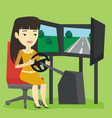 woman playing video game with gaming wheel vector image