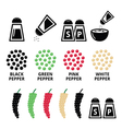 Spices icons - black pepper red green and white vector image