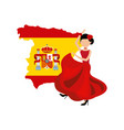 woman dancing flamenco classic icon of spanish vector image