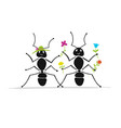 funny ants couple sketch for your design vector image