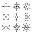 snowflake flat line icon vector image vector image