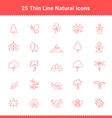 Set of Thin Line Stroke Natural Icons vector image vector image