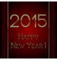 rectangle red greeting new year 2015 postcard with vector image