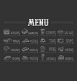 cafe menu with food and drinks on chalkboard vector image