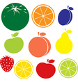 fruit icon - apple peach lemon orange strawberry vector image