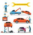 Mechanic and Car Maintenance Service vector image