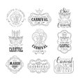 Set Of Hand Drawn Monochrome Mardi Gras Event vector image