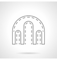 Triple arch flat line icon vector image