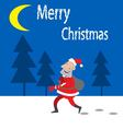 Santa Claus comes on the night forest vector image