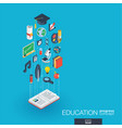 education integrated 3d web icons growth and vector image vector image