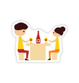 paper sticker on white background couple romantic vector image