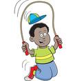 Cartoon african boy jumping rope vector image