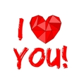 I love you with heart isolated on white background vector image