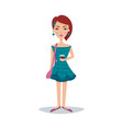 pretty female student with a fashionable hairstyle vector image