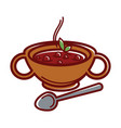 turkish soup arabashi in clay bowl with handles vector image