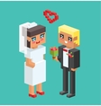 Wedding couples cartoon style vector image