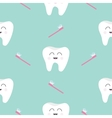Seamless Pattern Brush Tooth health Cute funny vector image