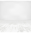 Empty white room with wooden floor vector image