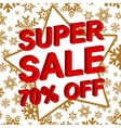 Winter sale poster with SUPER SALE 70 PERCENT OFF vector image