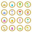 lamp icons circle vector image