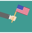 Businessman hand holding american flag Flat design vector image