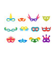 cartoon carnival mask color icons set vector image