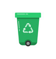 green recycle bin icon in flat style vector image