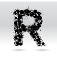 Letter R formed by inkblots vector image