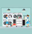 maid loading laundry washing machine with cloth vector image