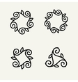 Set of stylish floral monogram vector image