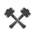 Two crossed hammers isolated on white background vector image