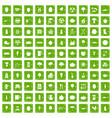 100 health food icons set grunge green vector image