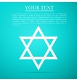 Star of David flat icon on blue background vector image