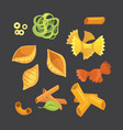 set italian pasta in cartoon style vector image