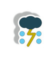 cloud and lightning sticker weather sticker vector image