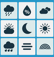 air icons set collection of weather colors sun vector image