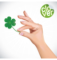 Hand Holding Clover vector image