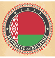 Vintage label cards of Belarus flag vector image